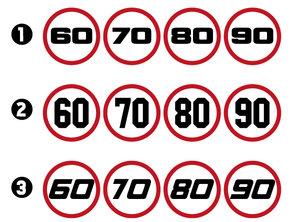 AUTOCOLLANTS DE LIMITE DE VITESSE - 60-70-80-90