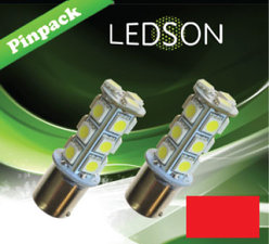 LED-LAMP ROUGE 360 P21W 18SMD BA15s