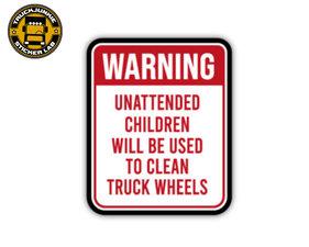 WARNING UNATTENDED CHILDREN - FULL PRINT AUTOCOLLANT
