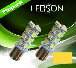 LED-LAMP JAUNE/ORANGE 360 P21W 18SMD BA15s