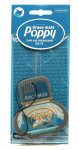 poppy paper airfreshner car artic freeze blue